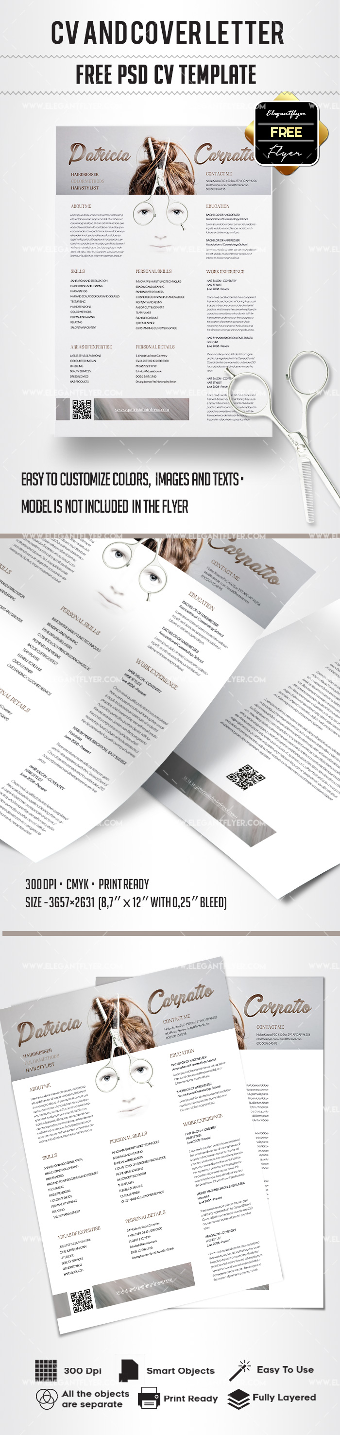 Free Hairdresser CV and Cover Letter PSD Template