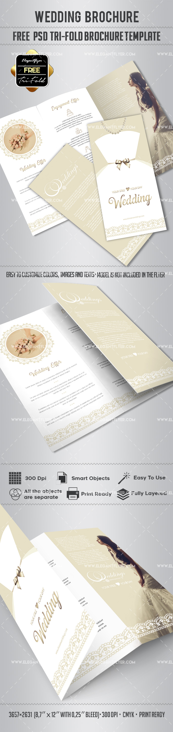 Free Wedding Tri-Fold PSD Brochure Template