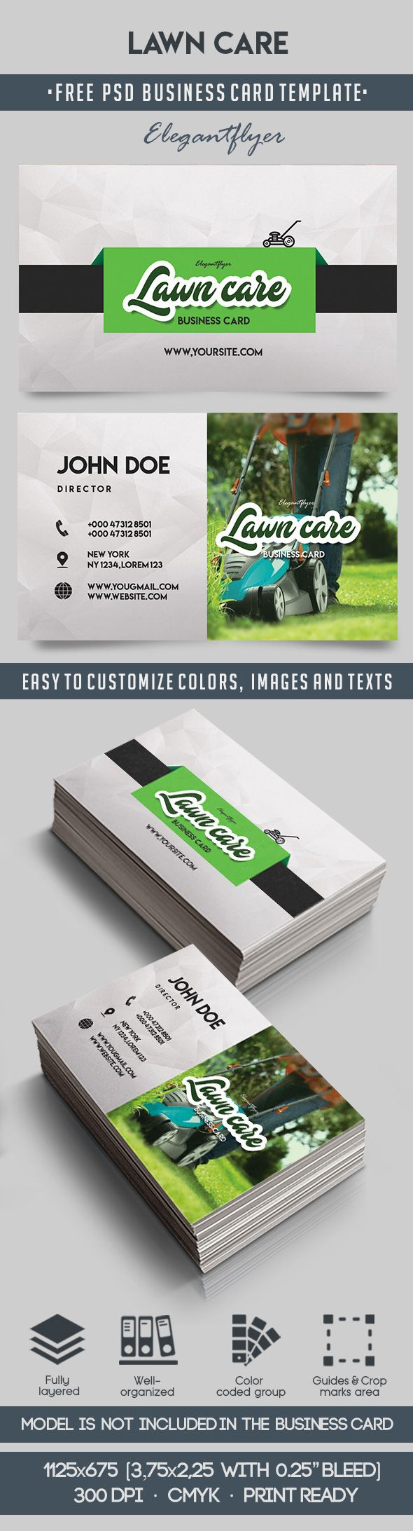 Lawn Care – Free Business Card Templates PSD – by ElegantFlyer