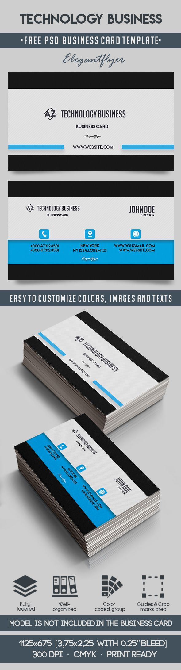 Technology Business Free Business Card Templates PSD By - Technology business card templates