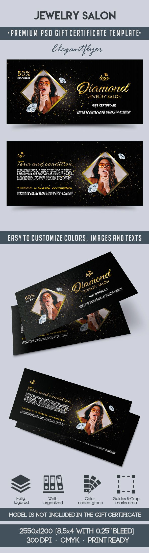 Jewelry Salon Voucher in PSD