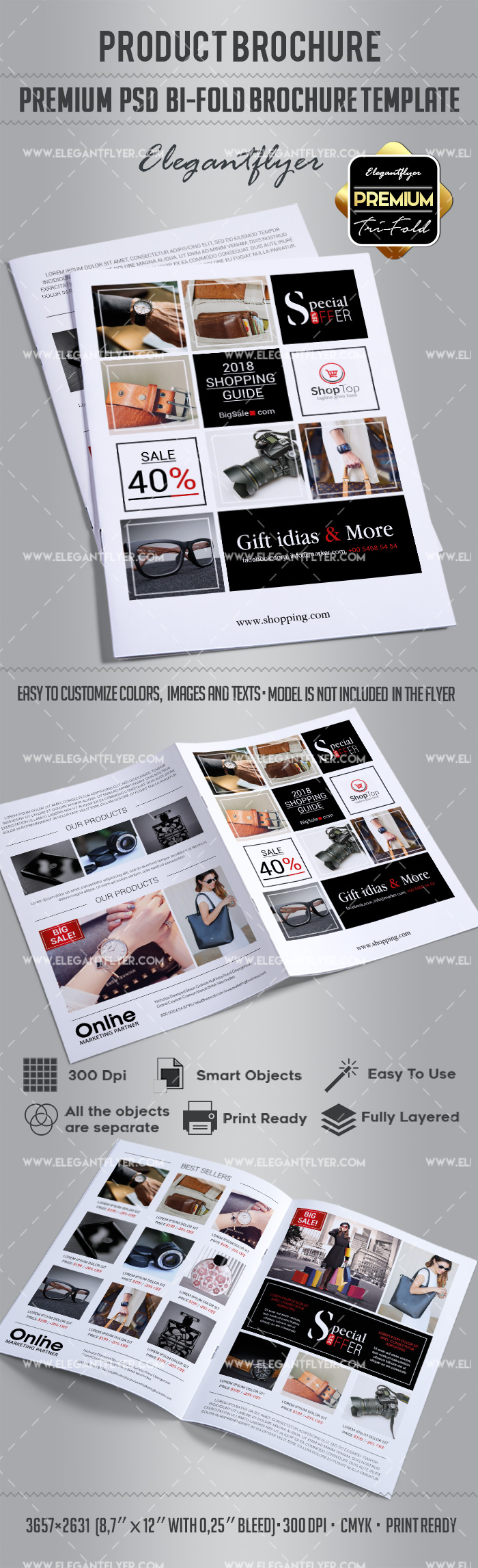Product brochure bi fold template by elegantflyer for Product brochure template