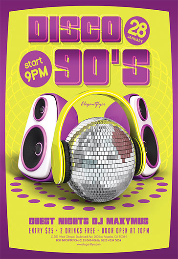 Disco 90's – Flyer PSD Template