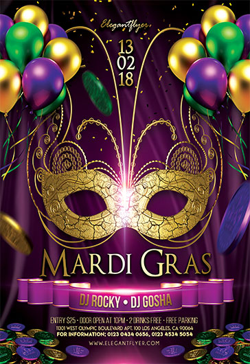 Mardi Gras – Club and Party Free Flyer PSD Template