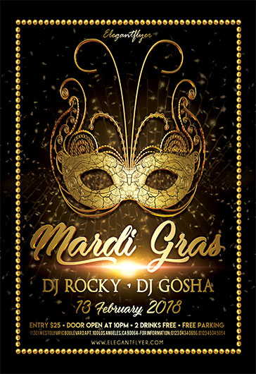 gold mardi gras party psd template