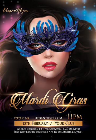 Mardi Gras Party- Flyer PSD Template