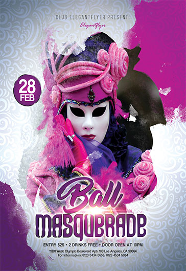 masquerade ball free flyer psd template by elegantflyer