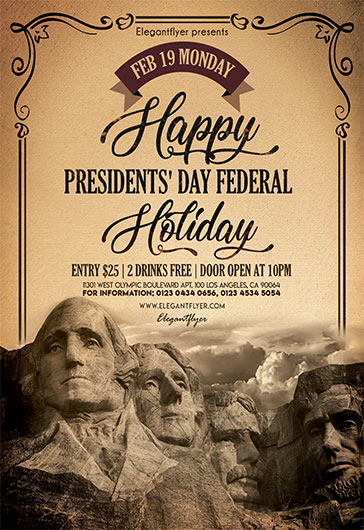 President's Day Federal Holiday – Flyer PSD Template