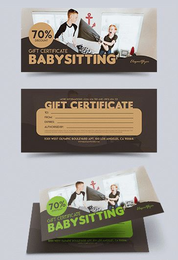 Fun by elegantflyer for Babysitting gift certificate template