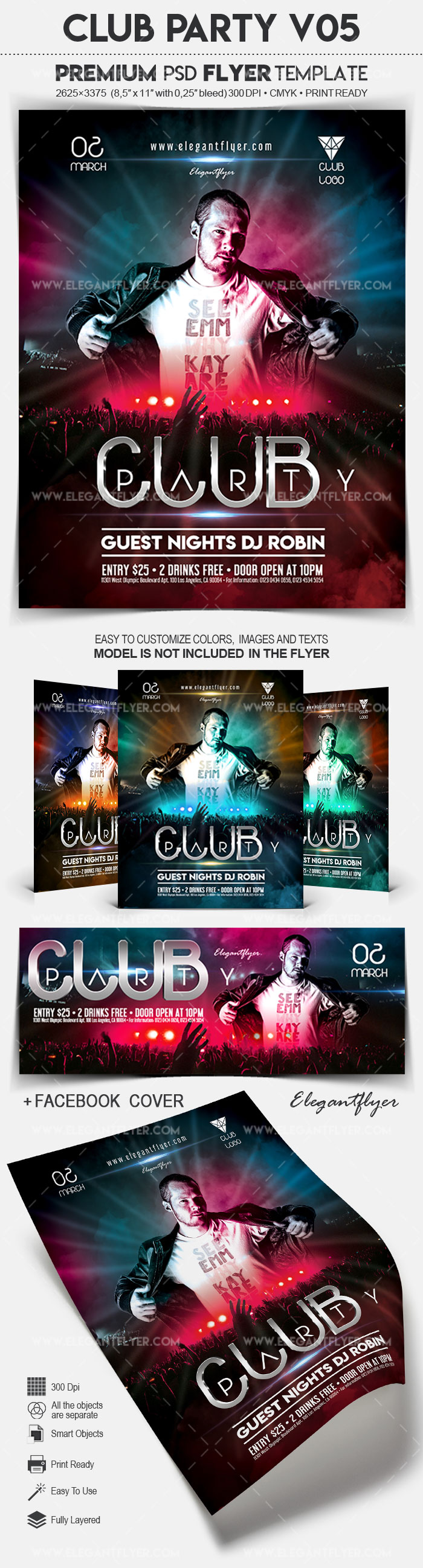 Club Party V05 – Flyer PSD Template + Facebook Cover