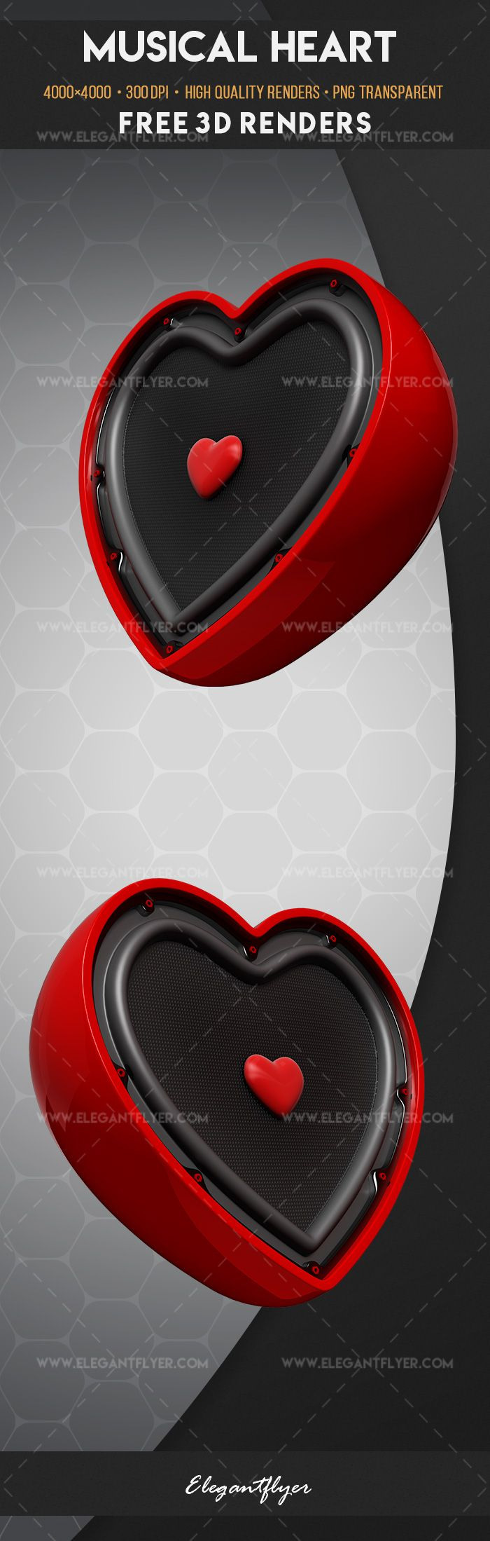 Musical Heart – Free 3d Render Templates