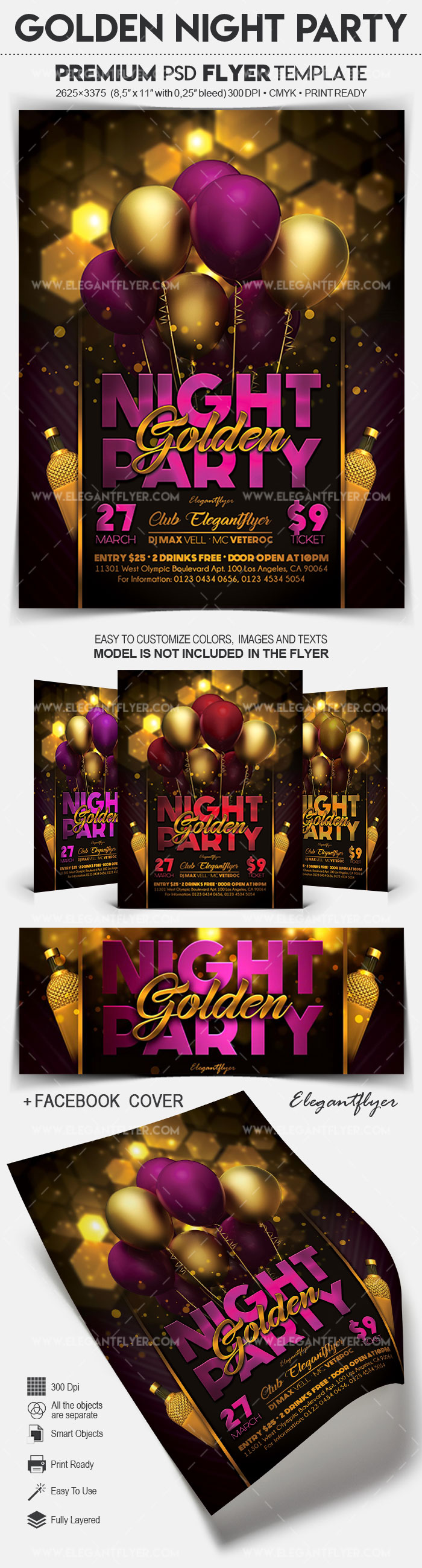 Golden Night Party – Flyer PSD Template + Facebook Cover