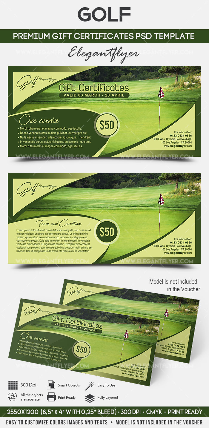 golf premium gift certificate psd template by elegantflyer. Black Bedroom Furniture Sets. Home Design Ideas