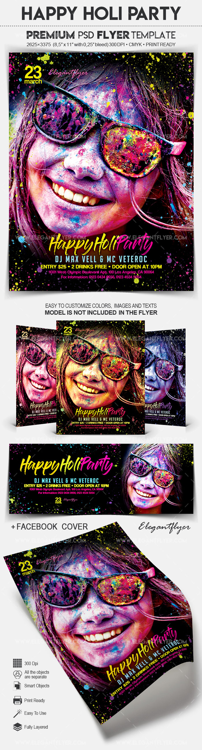 Happy Holi Party – Flyer PSD Template