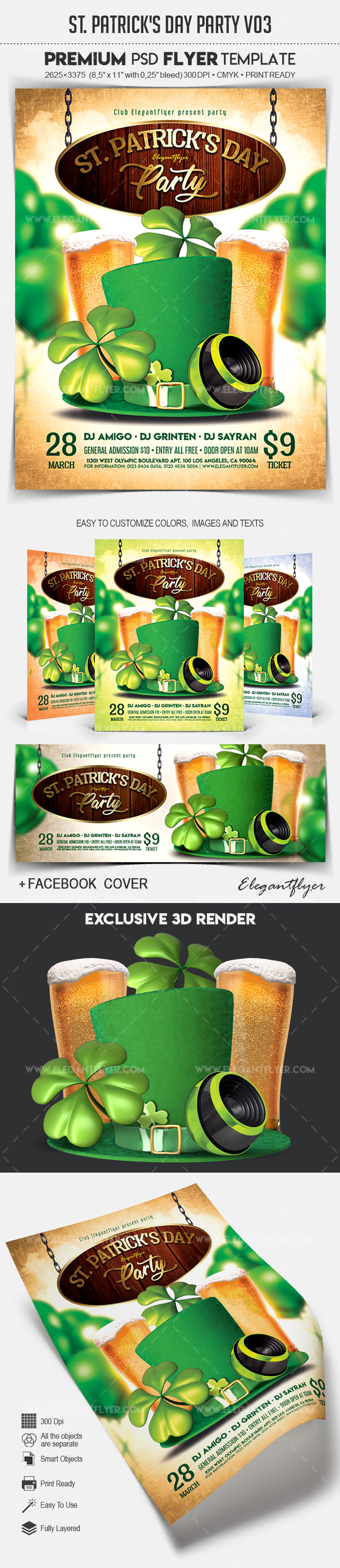 St. Patrick's Day Party V03 – Flyer PSD Template + Facebook Cover