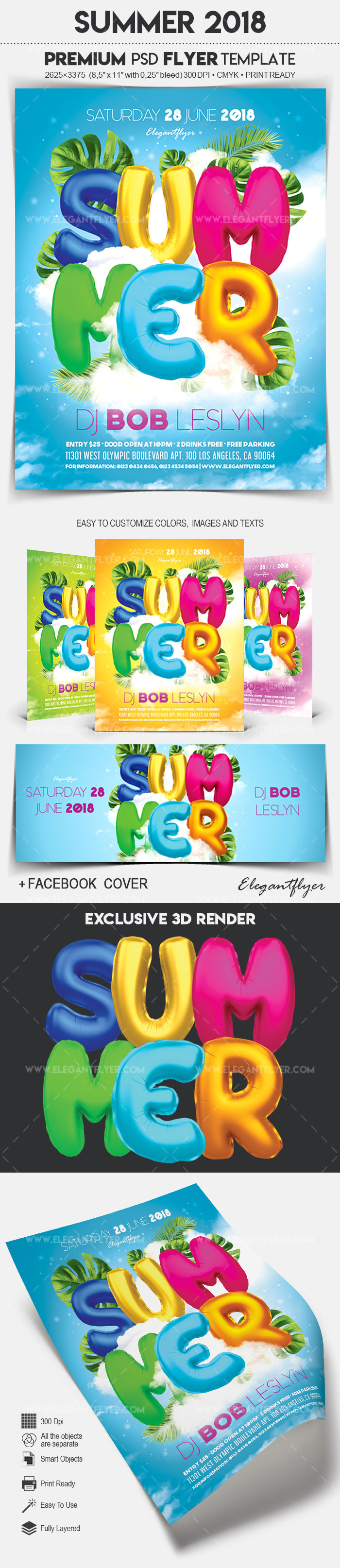 Summer 2018 – Flyer PSD Template + Facebook Cover
