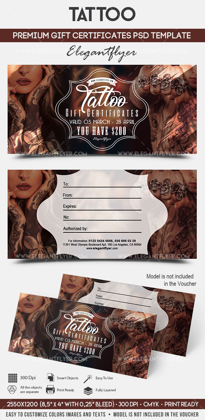 tattoo gift voucher template  u2013 by elegantflyer