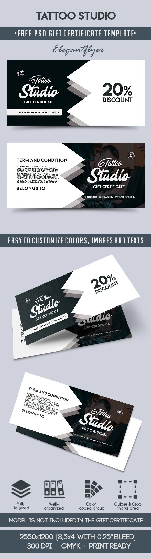 tattoo studio free gift certificate psd template by elegantflyer. Black Bedroom Furniture Sets. Home Design Ideas