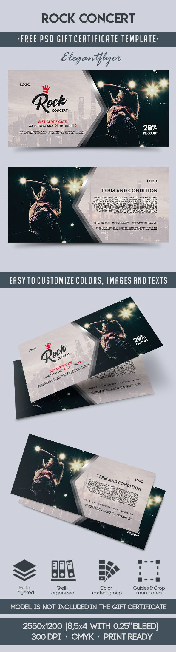 Rock Concert – Free Gift Certificate PSD Template