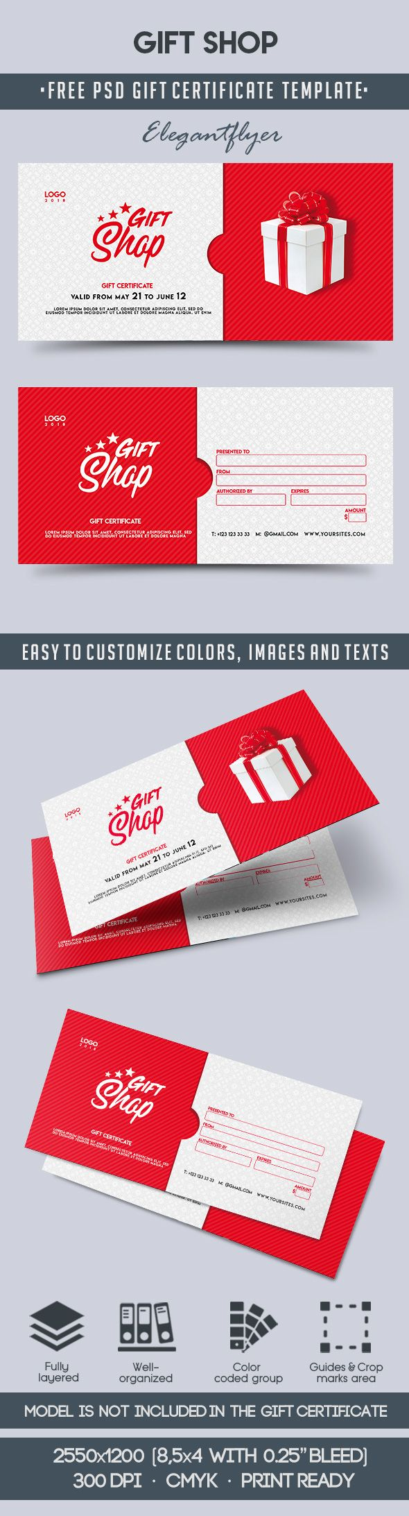 Gift Shop – Free Gift Certificate PSD Template