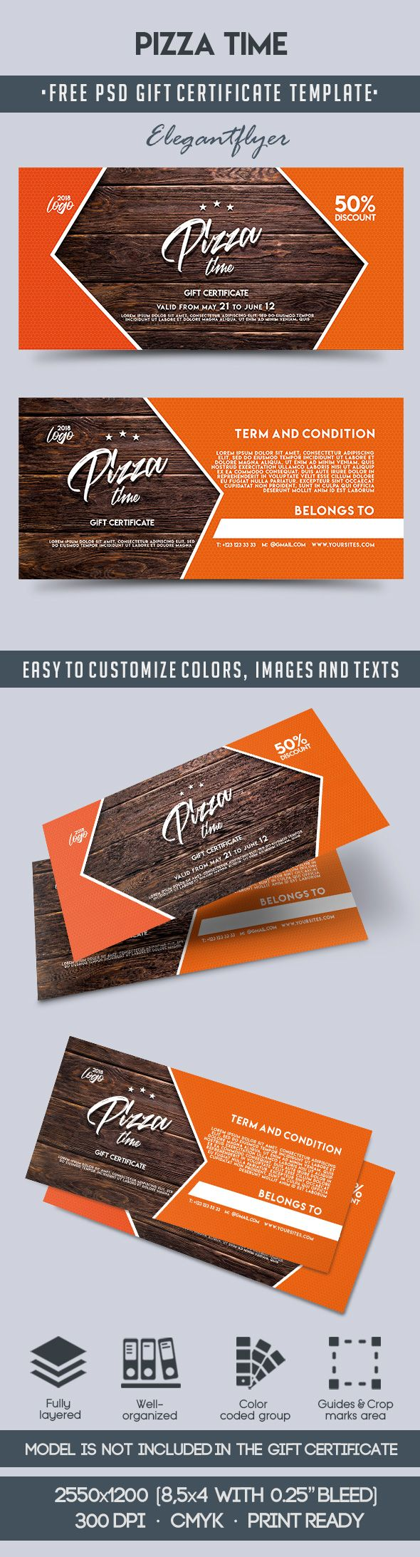 Pizza Time Free Gift Certificate Psd Template By Elegantflyer