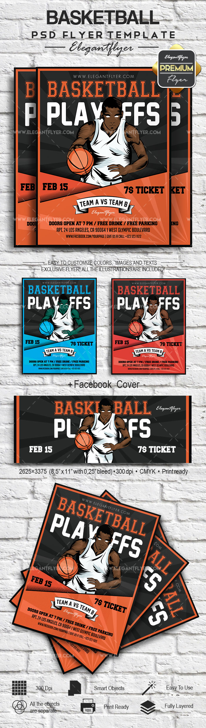 Flyer for basketball playoffs Template