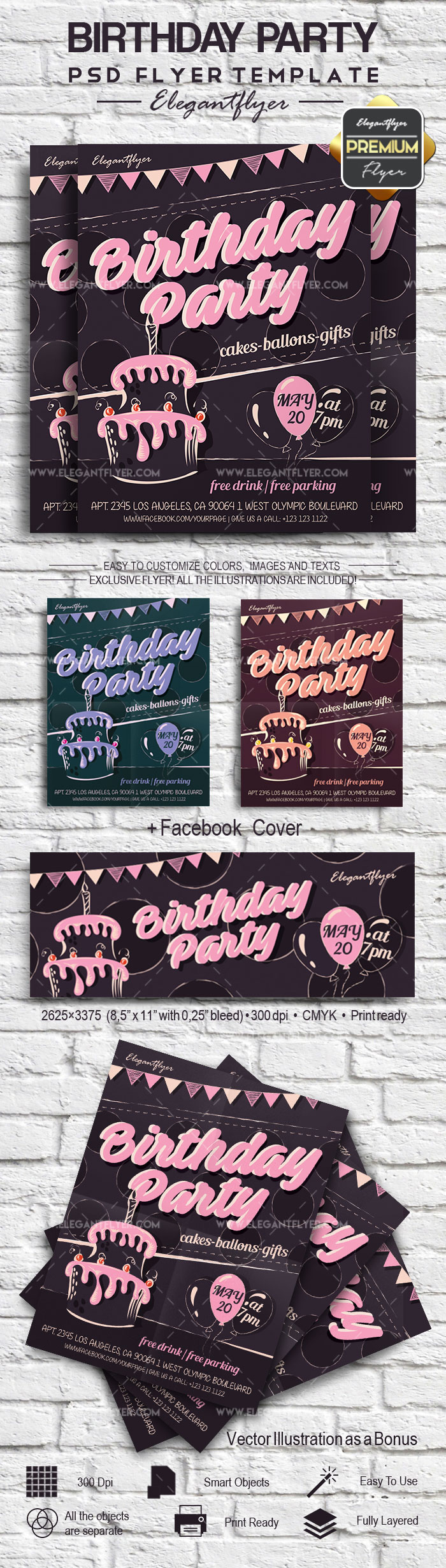 Flyer for Birthday Party Template