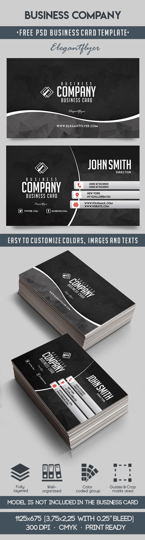 Business Company – Free Business Card Templates PSD