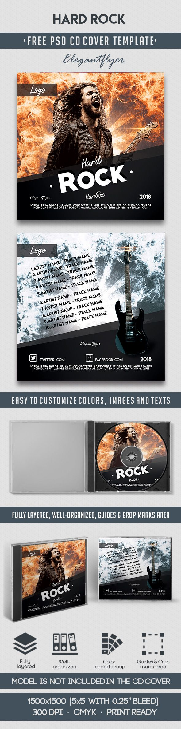 Hard Rock – Free CD Cover PSD Template