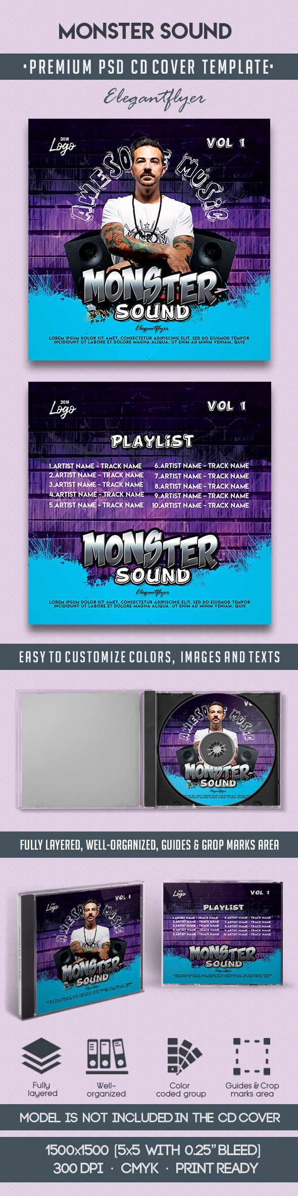 Monster Sound – Premium CD Cover PSD Template