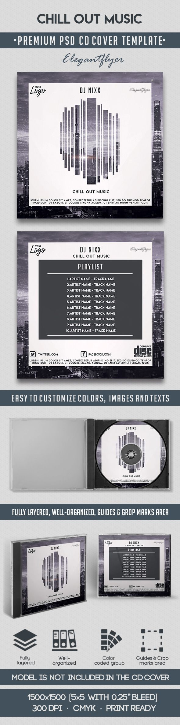 Chill Out Music – Premium CD Cover PSD Template