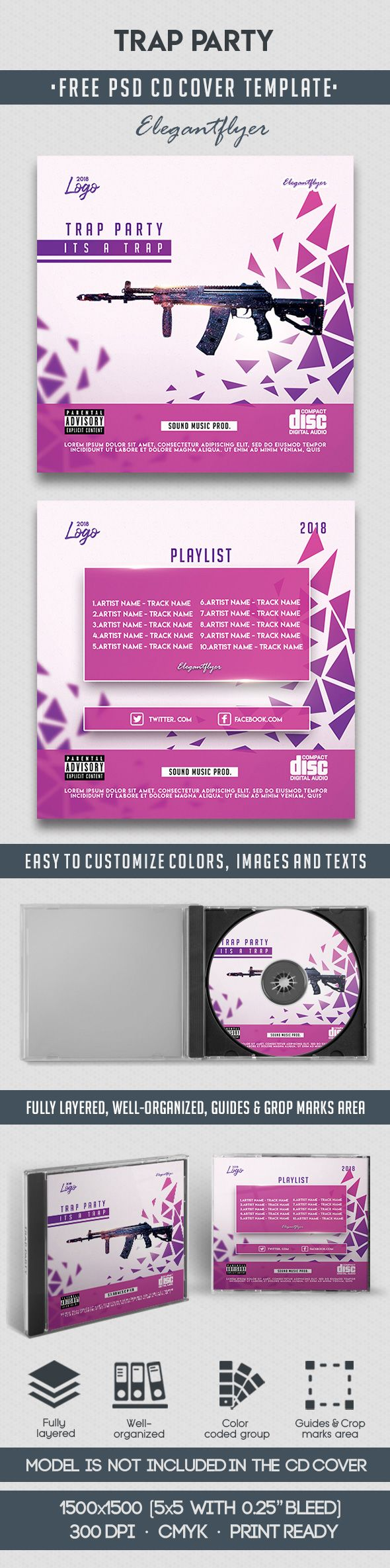 Trap Party – Free CD Cover PSD Template