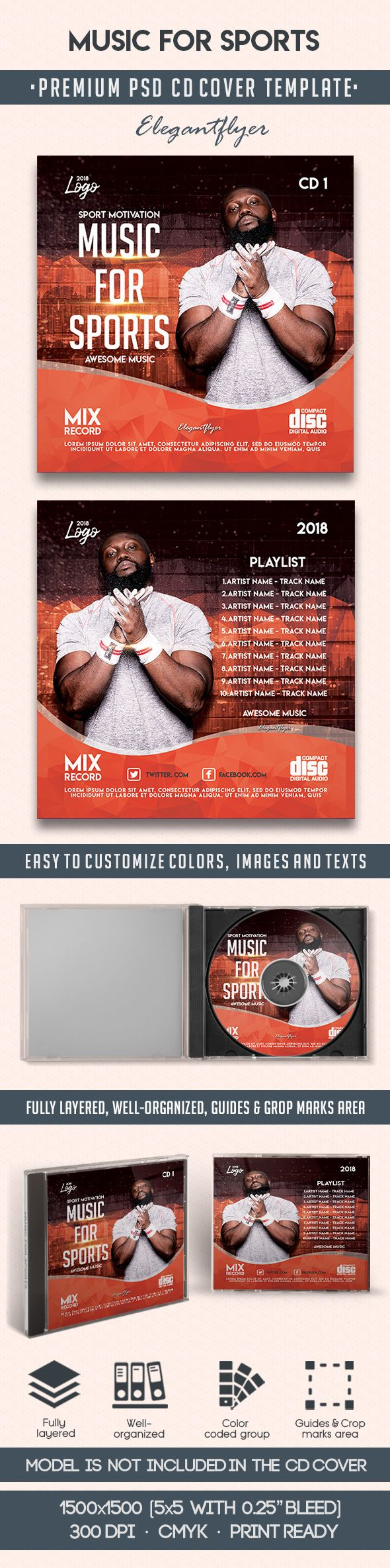 Music For Sports – Premium CD Cover PSD Template