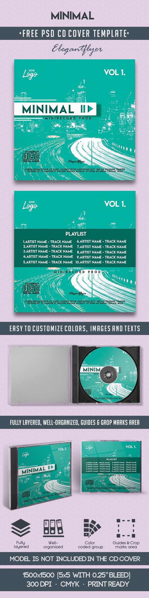 Minimal – Free CD Cover PSD Template