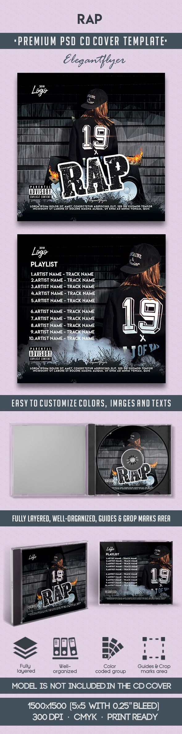 Rap – Premium CD Cover PSD Template