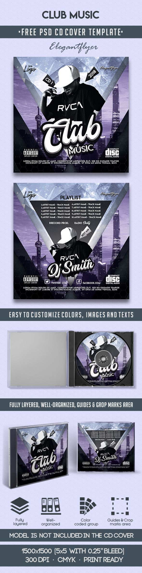 Club Music – Free CD Cover PSD Template