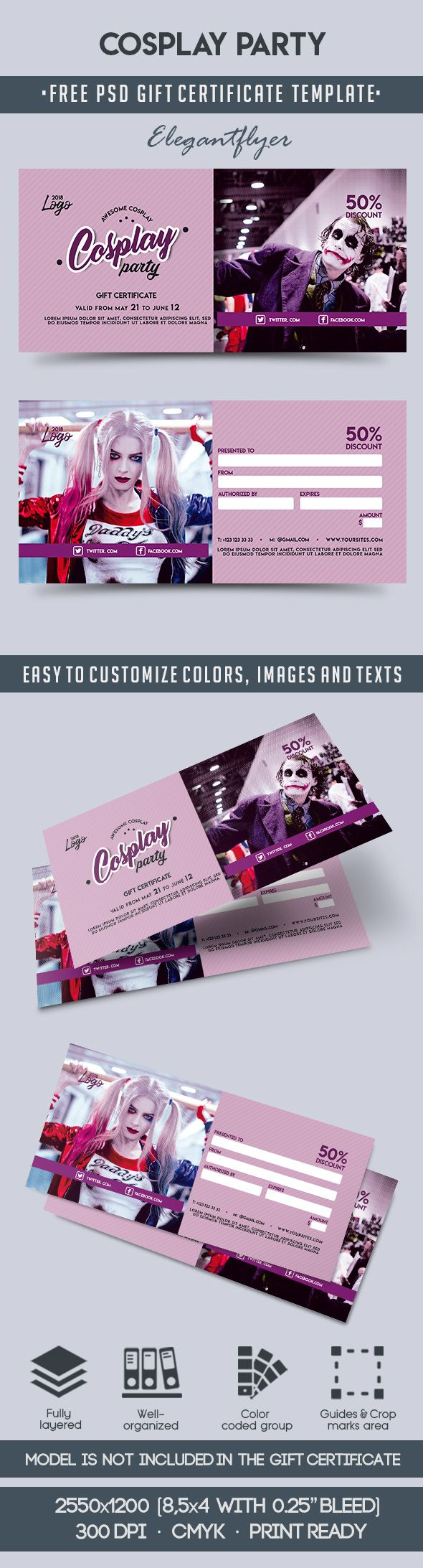 Cosplay Party – Free Gift Certificate PSD Template