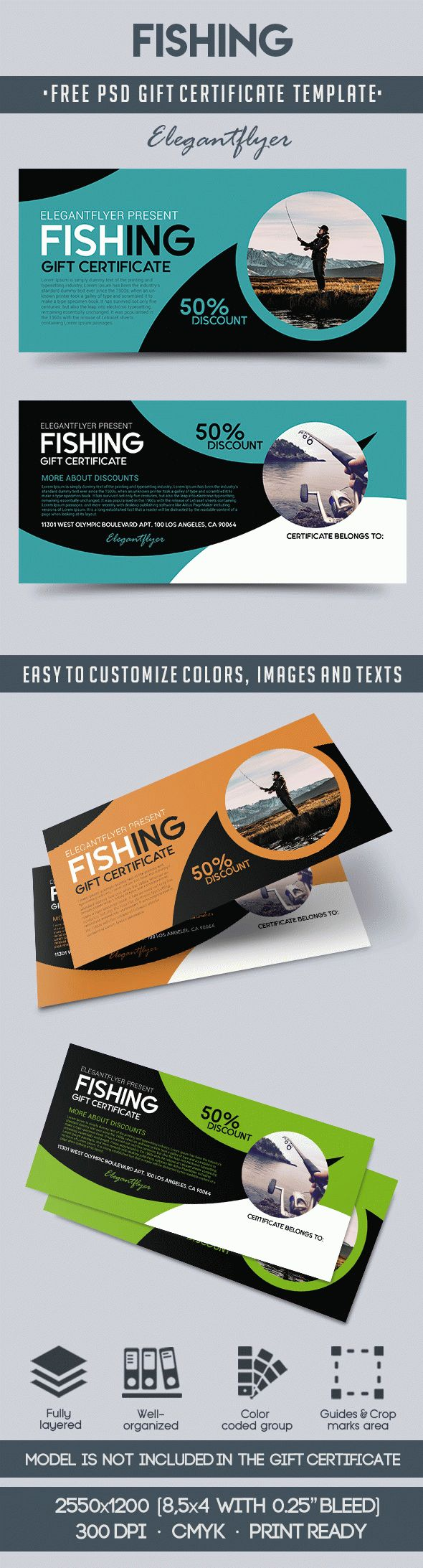 Fishing – Free Gift Certificate PSD Template