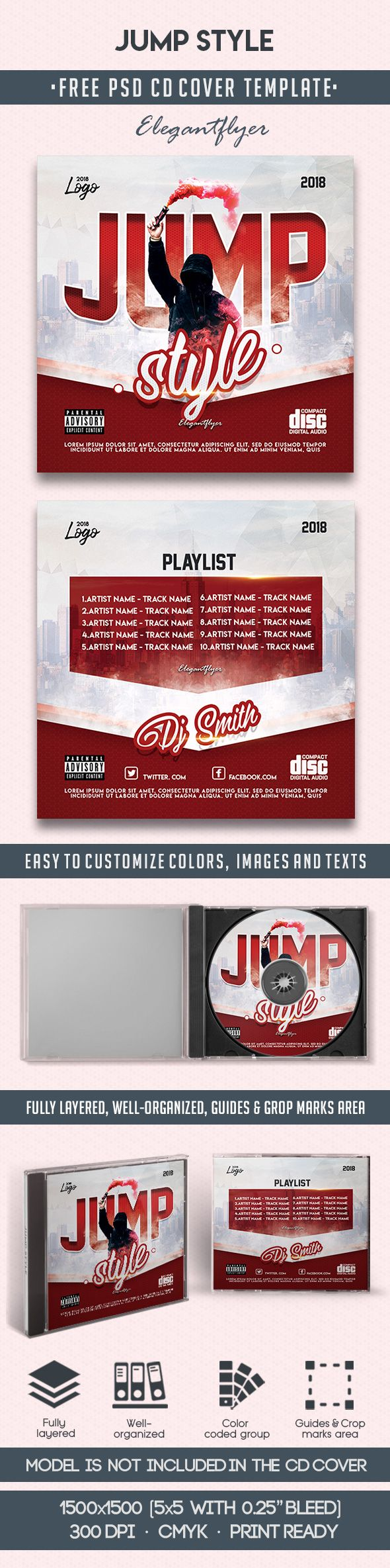 Jump Style – Free CD Cover PSD Template