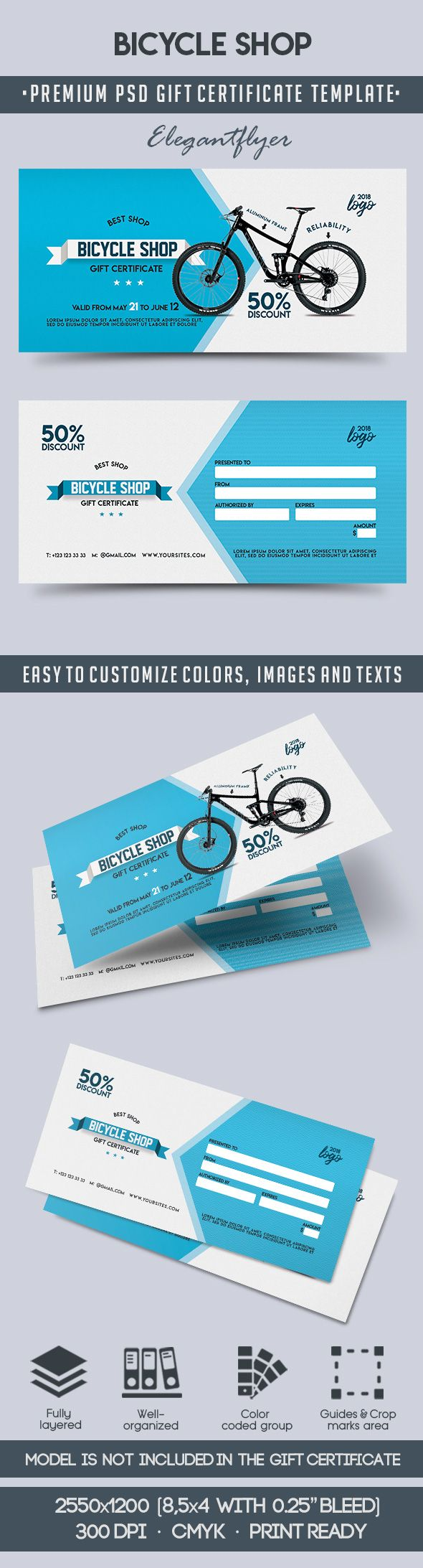 Bicycle Shop – Premium Gift Certificate PSD Template