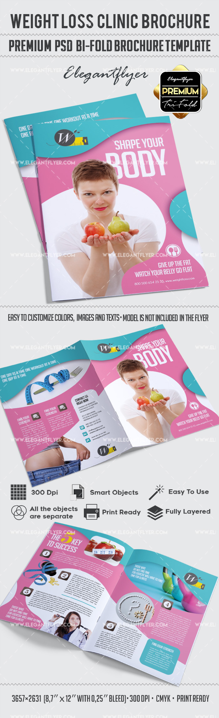Weight Loss – Premium Bi-Fold PSD Brochure Template