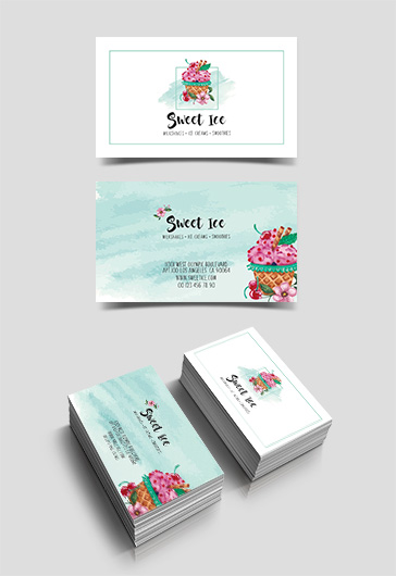 Ice Cream Cafe – Free Business Card Templates PSD