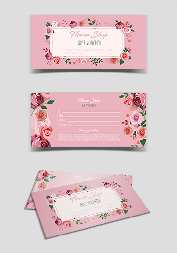 Flower Shop – Free Gift Certificate PSD Template