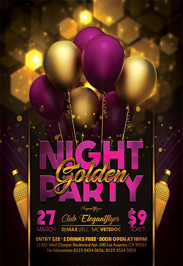 Golden Night Party  Flyer Psd Template  By Elegantflyer