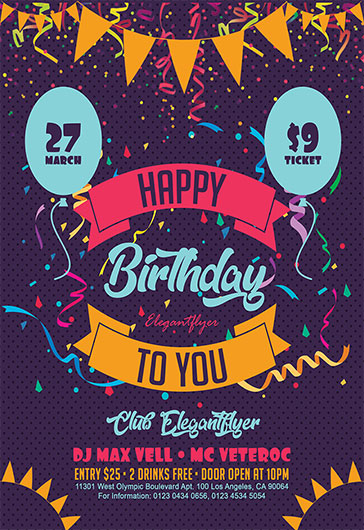 Happy Birthday To You – Flyer PSD Template