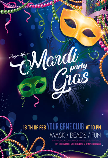Mardi Gras Party – Flyer PSD Template
