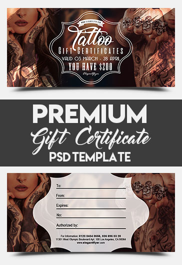 Tattoo Gift Voucher Template