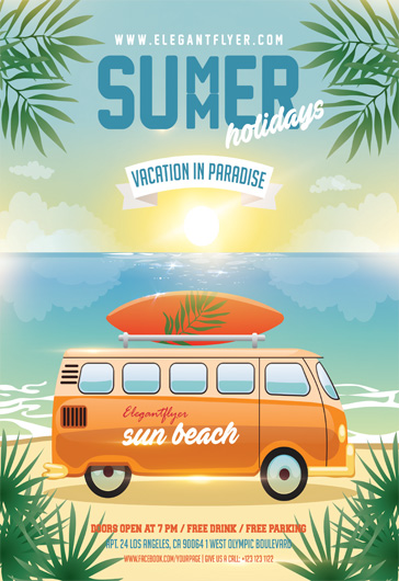 Summer Holidays – Flyer PSD Template
