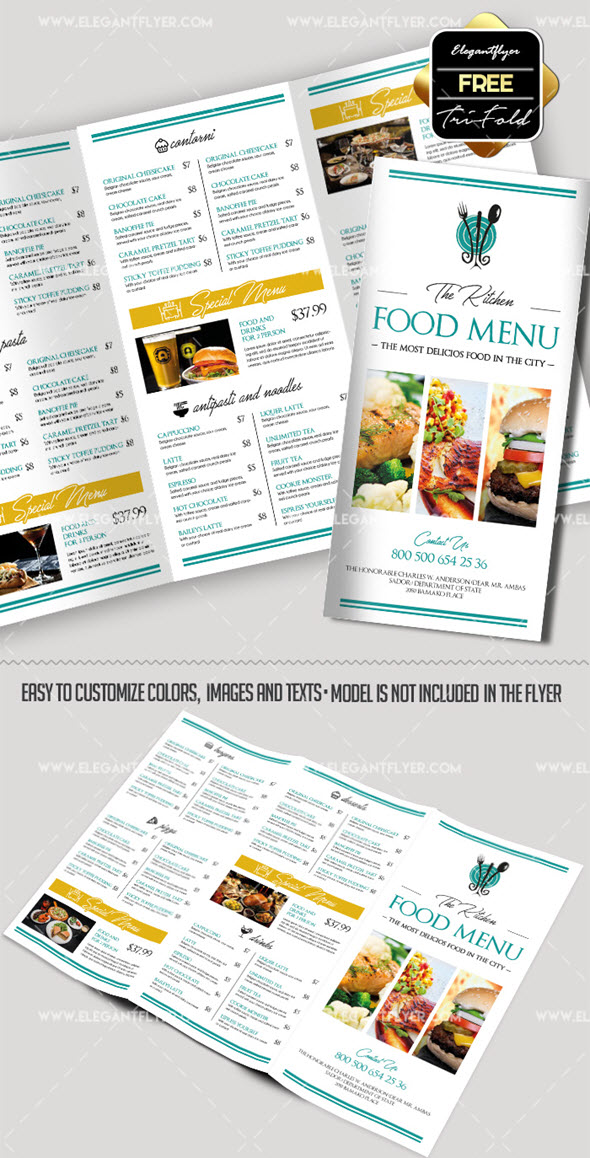 30 free brochure templates for food health beauty and for Free food brochure templates