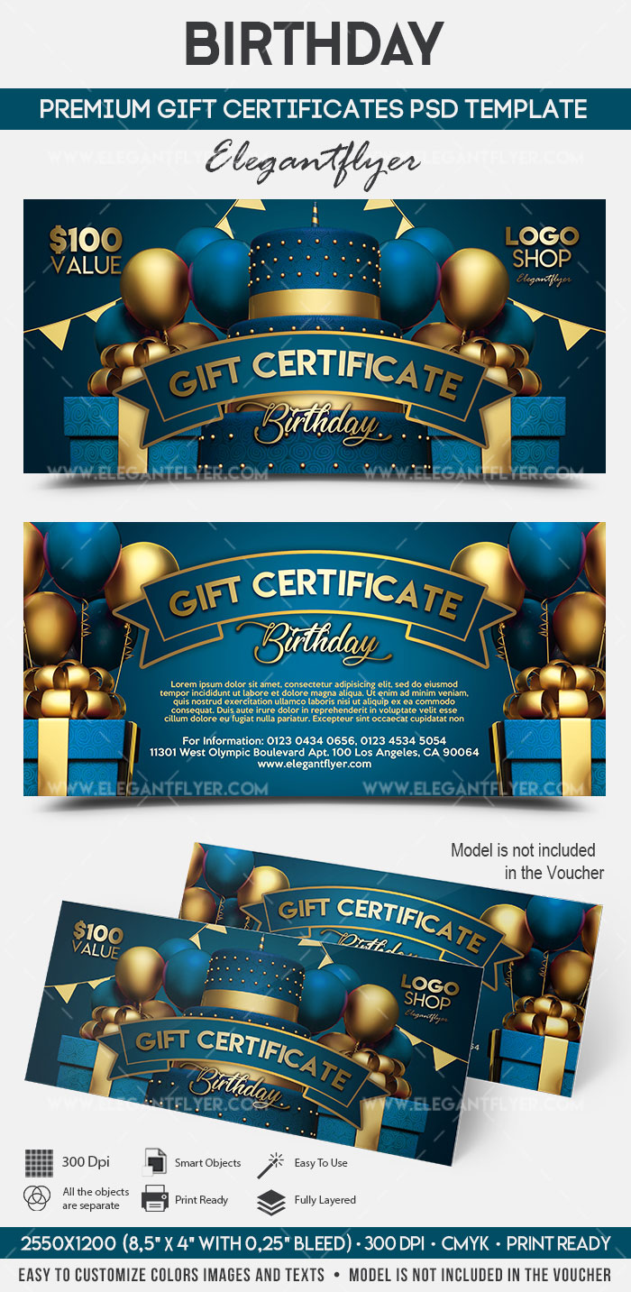 happy birthday gift certificate template by elegantflyer. Black Bedroom Furniture Sets. Home Design Ideas